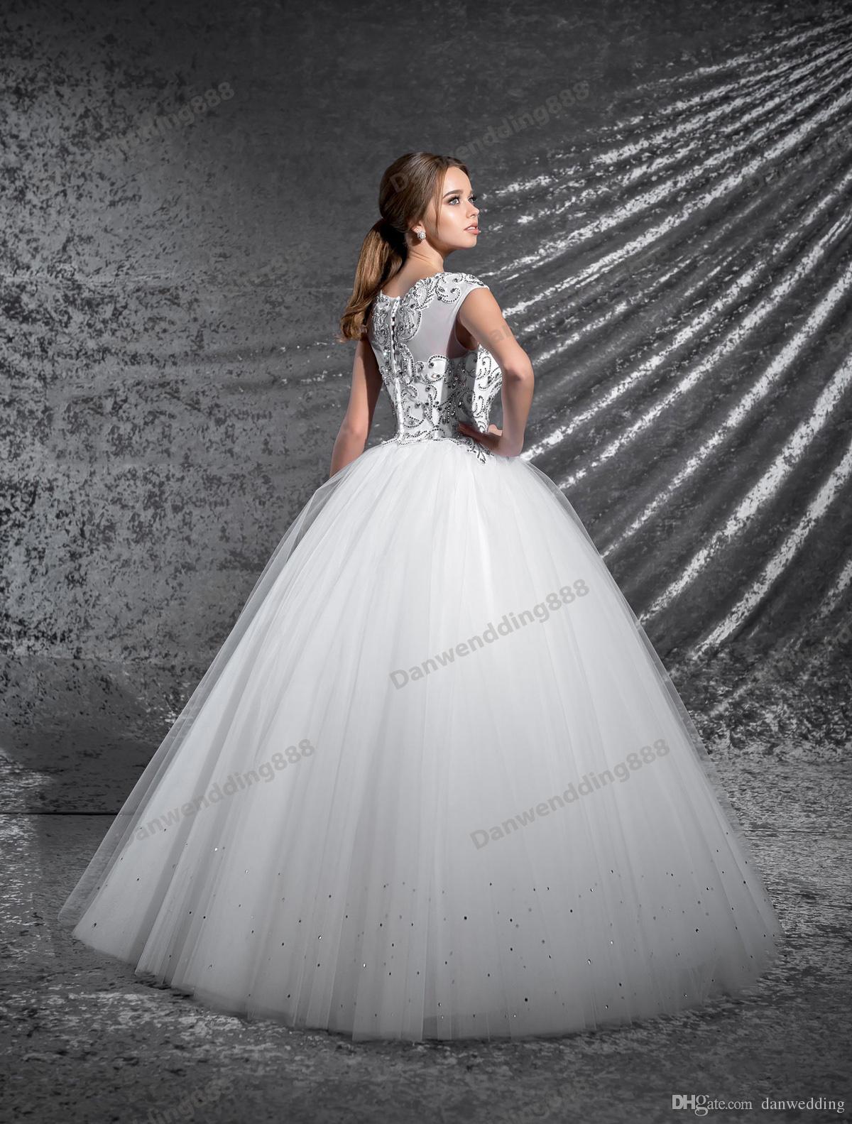 Grace White Tulle Scoop Applique Beads A-Line Wedding Dresses Bridal Pageant Dresses Wedding Attire Dresses Custom Size 2-16 ZW606017