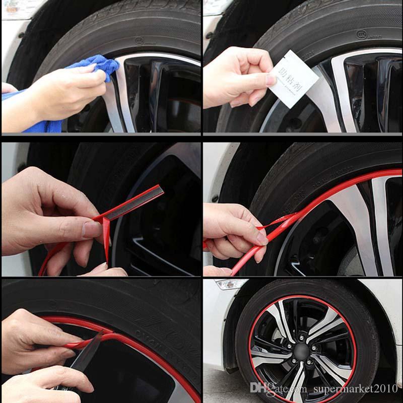 8 Metro / Rueda Rollo Llantas del coche Etiqueta engomada de protección Cubo neumático Auto Styling decorativo Tira de la rueda Llanta Borde del neumático Cubierta de la etiqueta engomada Accesorios para el automóvil