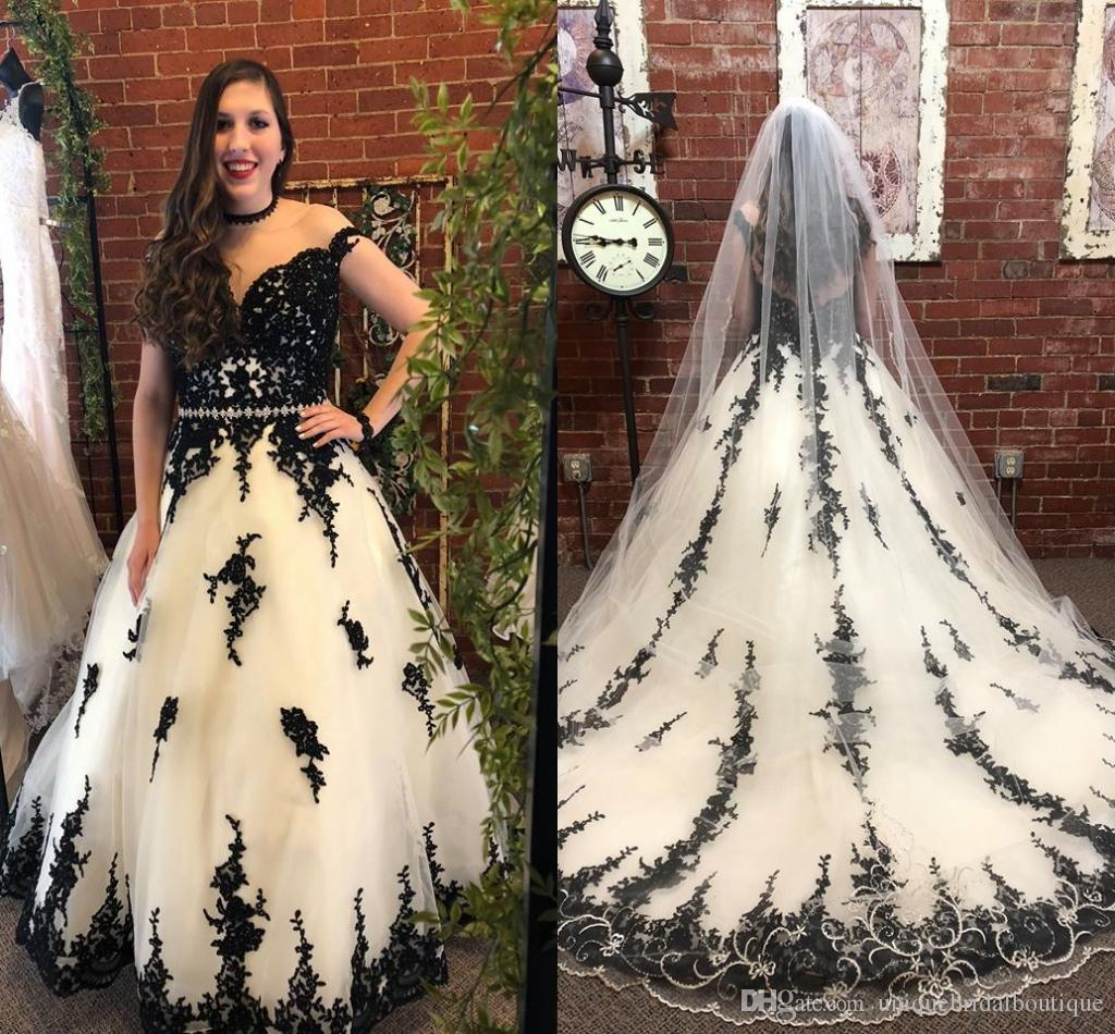 Discount Black/White Wedding Dresses 2018 Illusion Neck & Back Real ...