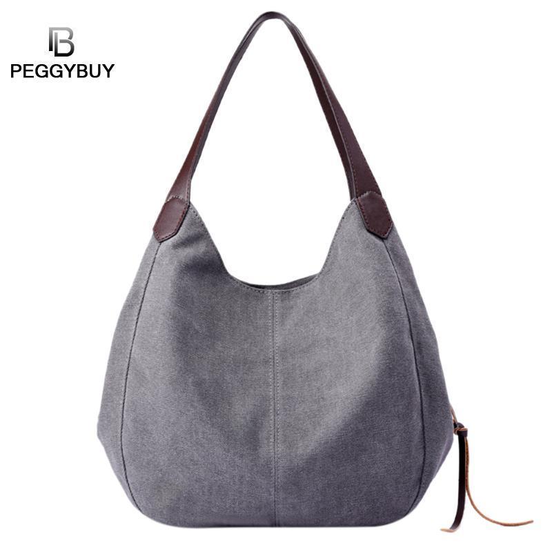 0f6596a52 Pb Brand Women'S Canvas Handbags High Quality Female Hobos Single Shoulder  Bags Vintage Solid Multi Pocket Ladies Totes Bolsas Mens Shoulder Bags  Shoulder ...