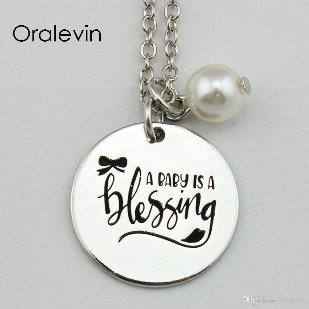 Wholesale A Baby Is A Blessing Inspirational Hand Stamped Engraved