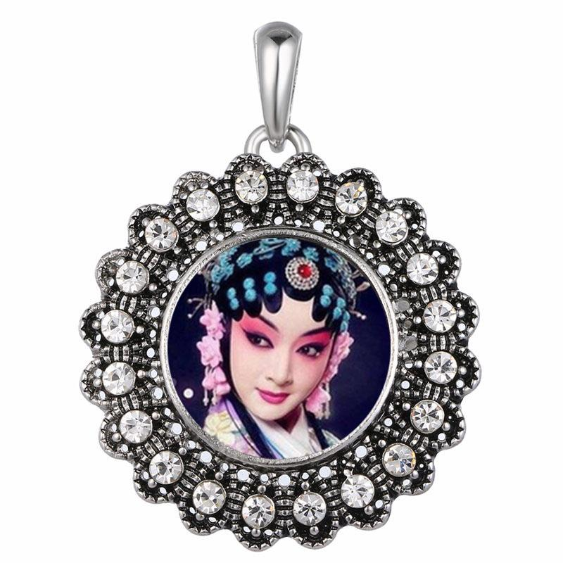 dye sublimation button necklaces pendants fashion flower necklace pendant button jewelry with zircon heat transfer diy blank consumables