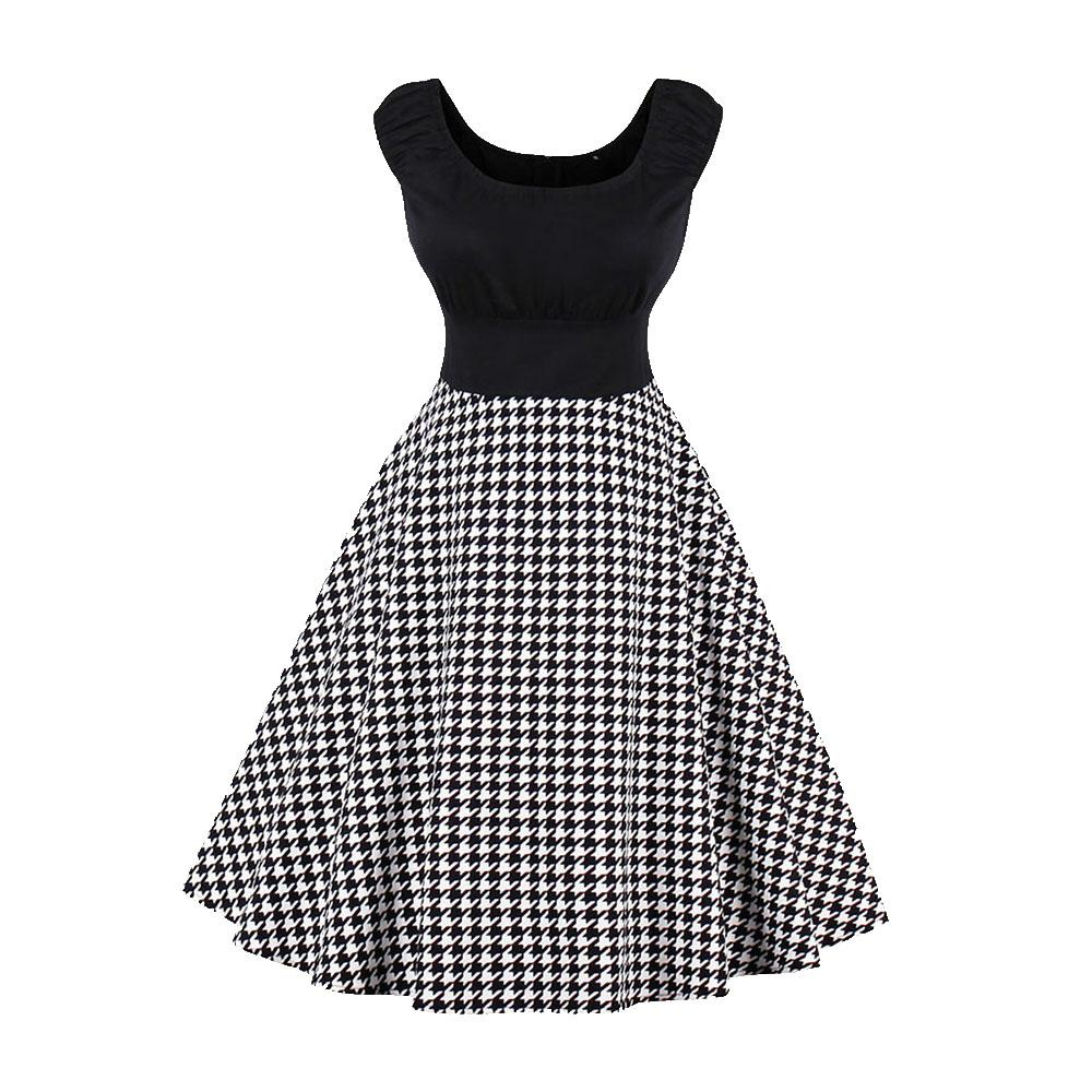 3d68435ded60b0 Sisjuly Plus Size 4XL Vintage Black Paid Big Swing Patchwork Dress Women  Summer O Neck Party Sleeveless Tank Dresses Dress For Summer Dress Summer  From ...