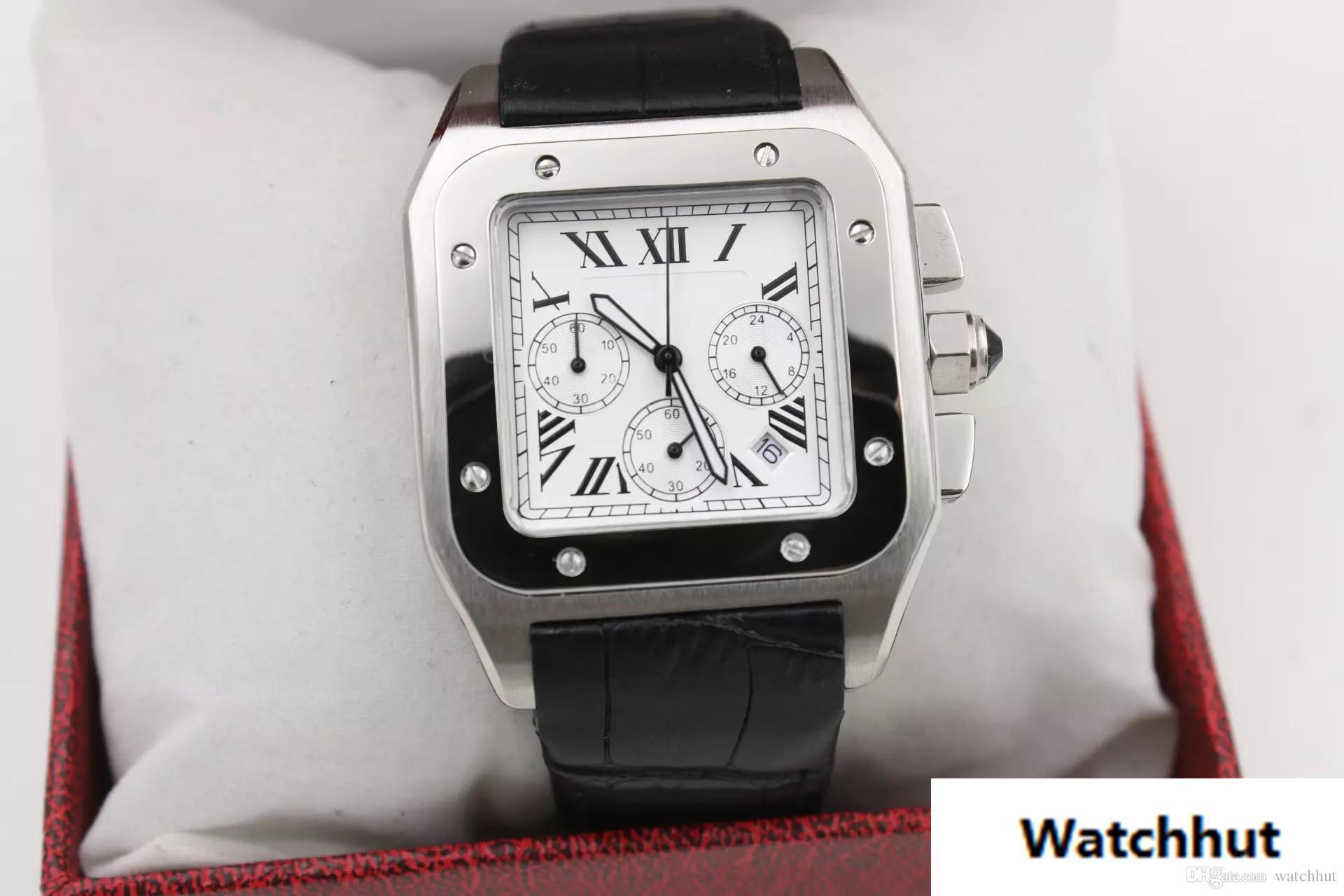 2a7101bba7ce Compre 2018 Reloj De Lujo De Alta Calidad Para Hombre CAR SANT W20090X8  Serie 42MM Dial De Color Blanco AAA Cronógrafo De Cuarzo Correa De Cuero  Original ...
