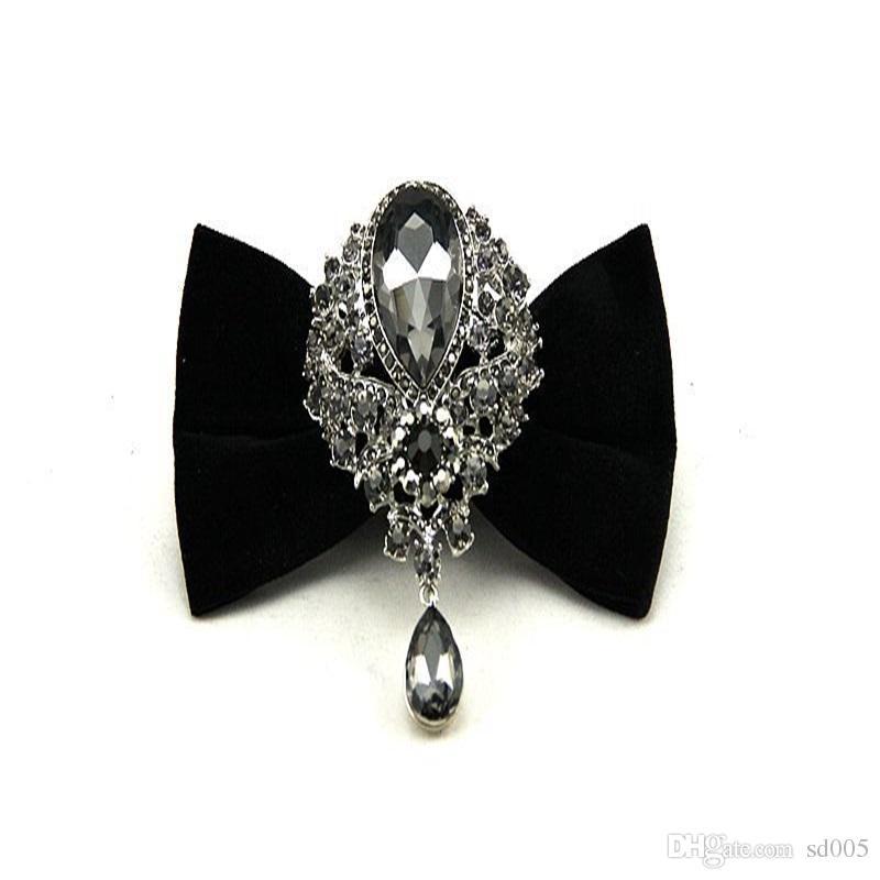 3d512457fa2 Velvet Tie Diamond Insert Gemstone Man Bow Attend Dinner Party Grand ...