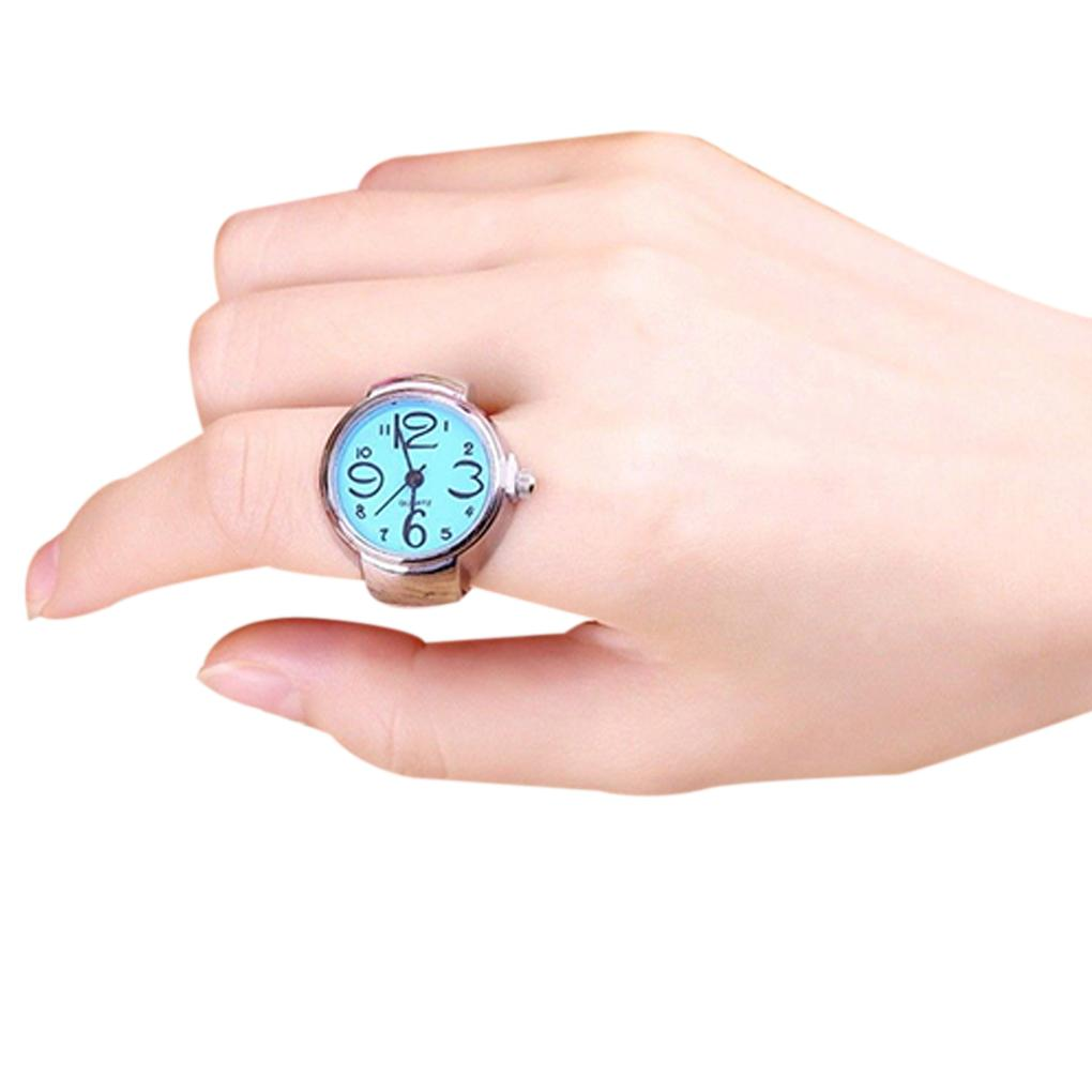 2018 Smart Steel Round Elastic Quartz Finger Ring with-watch New Arrive For  Party