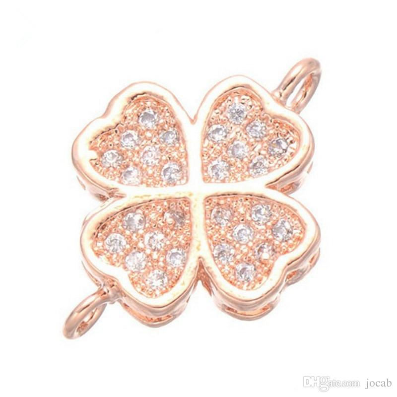 Wholesale Hand Made Jewelry DIY Accessories Fashion Luxury Micro Pave Zircon Copper Metal Charms Connectors Components Bangle Necklace Fit