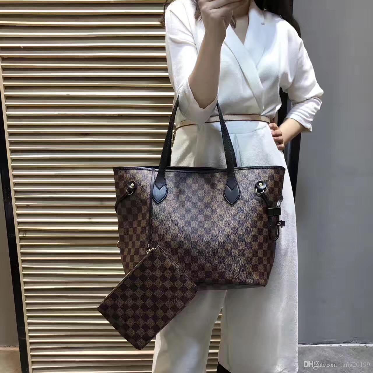 909b42d12a125 2019 2019 New AJLOUIS VUITTON NEVERFULL Old Flower Handbag+Wallet ...