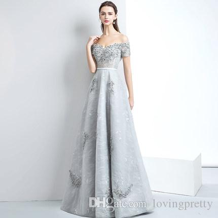 Light Gray Long Prom Dress A Line Tulle Lace Applique Beading Short ...