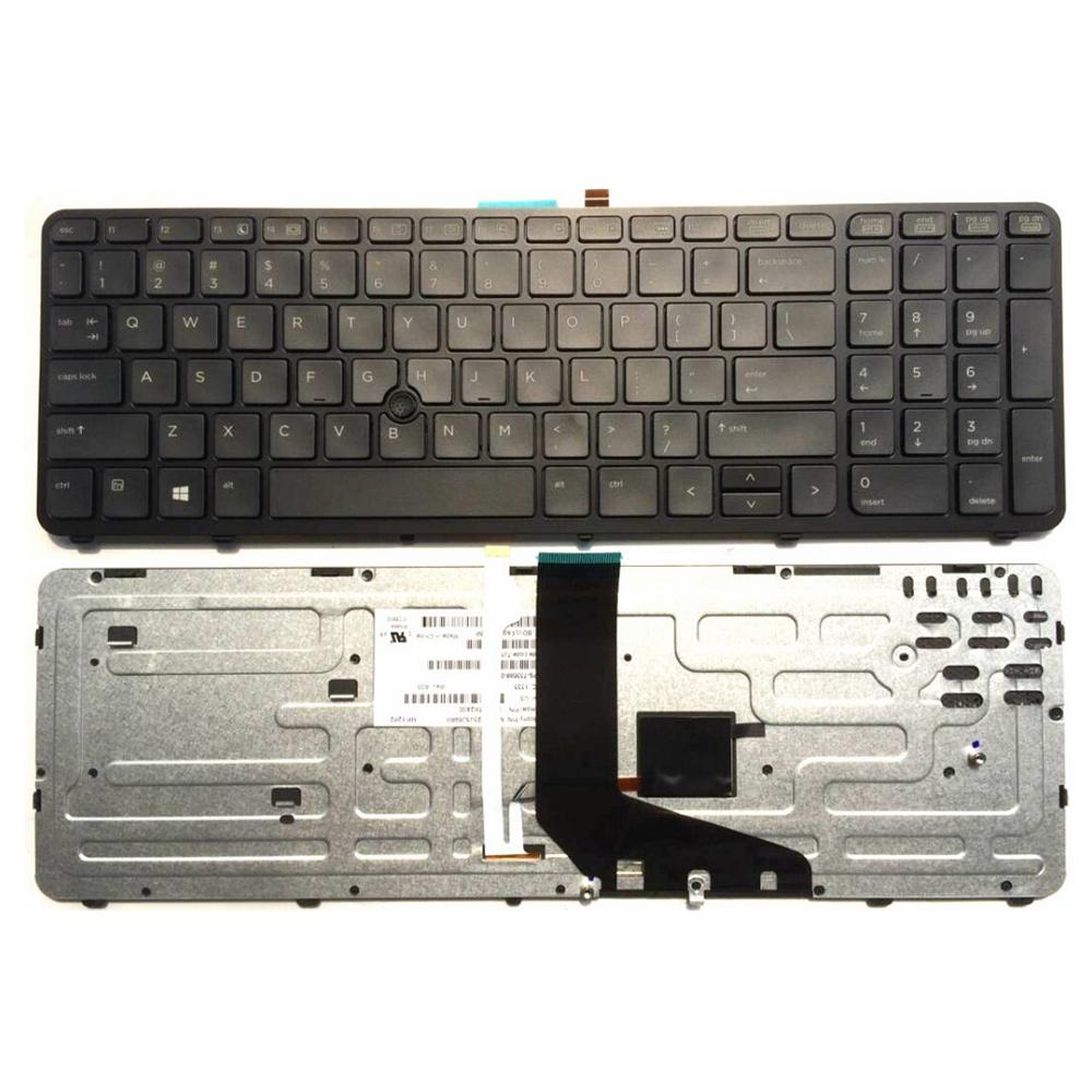 US laptop keyboard FOR ZBOOK 15 17 PK130TK1A00 SK7123BL With pointing stick  Black border New English without backlight
