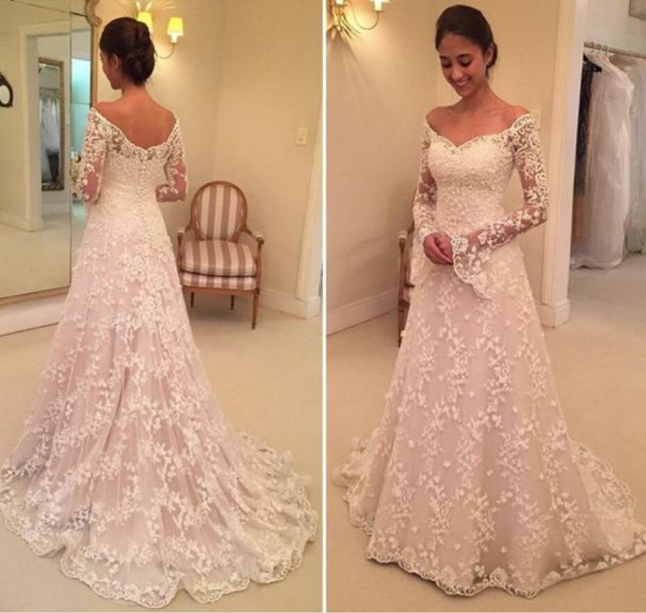 4560d0766 Discount Full Lace A Line Wedding Dresses With Long Poet Sleeves 2019  Vintage Lace Appliques Button Back Bridal Dresses Court Train Wedding Gowns  Best ...