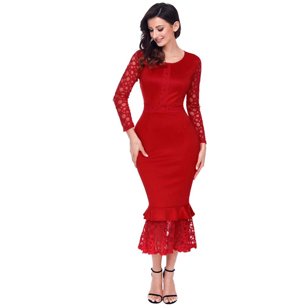 2c4a4d9250e 2019 Lace Dresses Women Party Winter Elegant Red Hollow Out Long Sleeve  Ruffle Bodycon Midi Dress Vestidos Vintage Lc61801 From Xuxiaoniu2