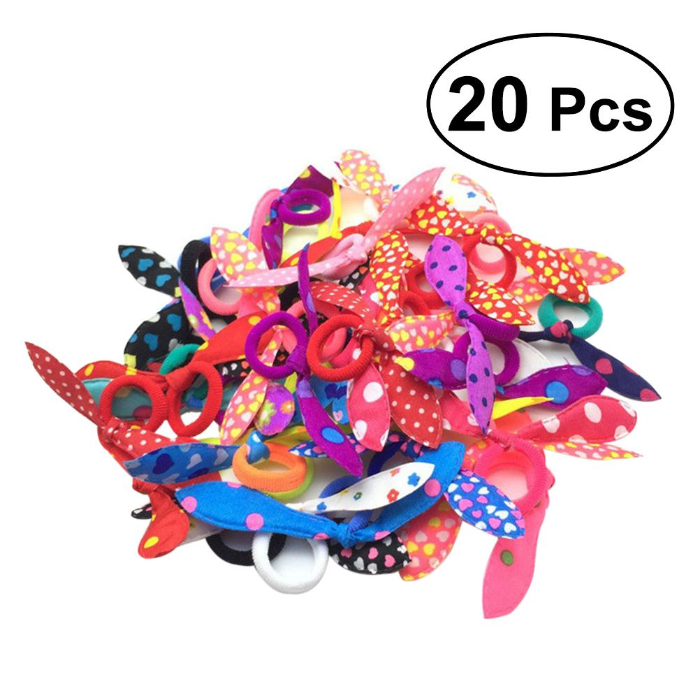MUSEYA 20pcs Lovely Bunny Ear Hair Tie Ropes Bands Ponytail Holders for Girls Cute Rabbit Ears Hair Accessories