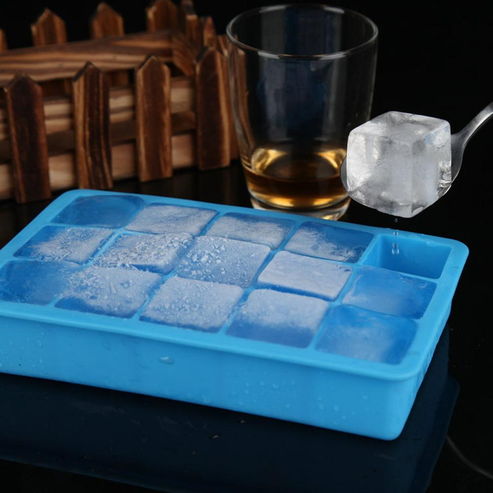Kitchen Tools Gadgets Cream Tools 15 Grids Big Cube Maker Ice Cube Tray Silica Gel Square Shape DIY Ice Mold