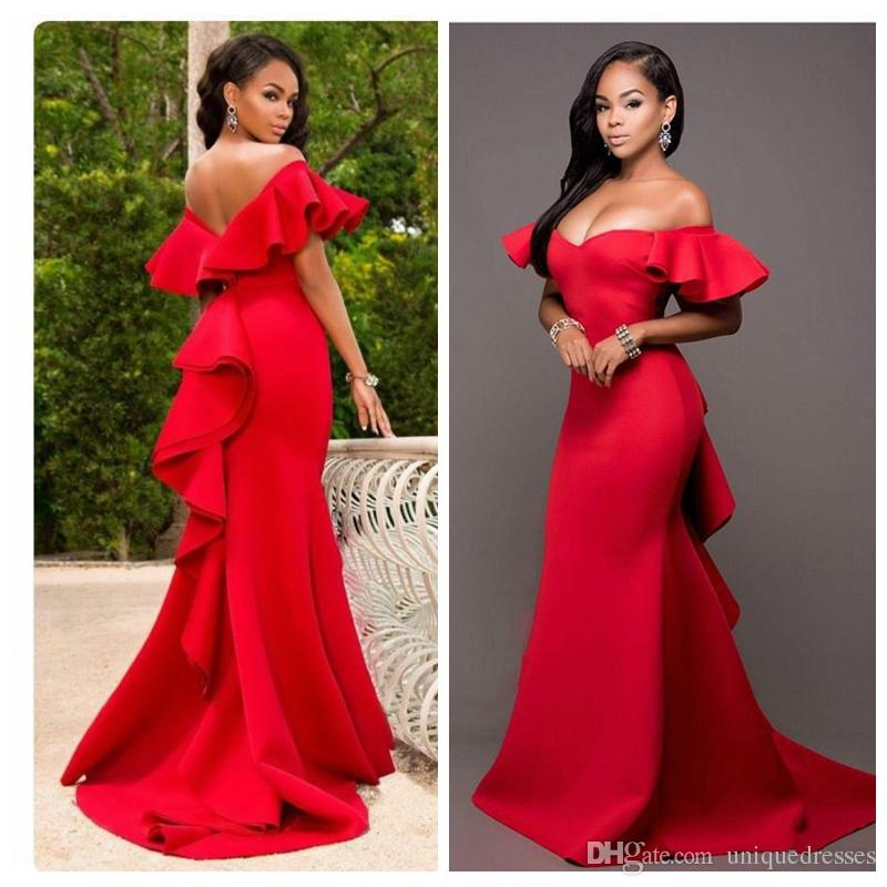 fa236fef220f Sexy Red Ruffle Mermaid Evening Dresses Wear Off Shoulder Saudi Arabia  Vestidos De Fiesta African Long Party Prom Formal Celebrity Gown Elegant  Evening ...