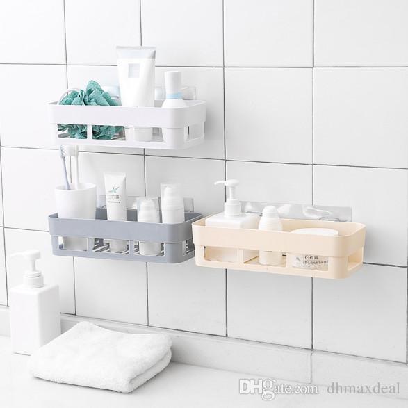 Kunststoff Wandmontierte Art Bad Regale Küche Lagerregal Organizer Dusche  Regal Badezimmer Zubehör Zufällige Löcher