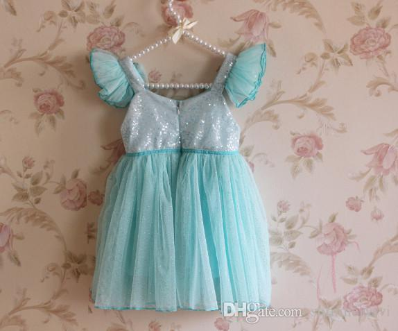 Vendita al dettaglio Abiti da principessa bambina Abbigliamento bambini Manica da bambina con paillettes Manica volante Filato Sparkle Al ginocchio Abiti da festa rosa blu A4016