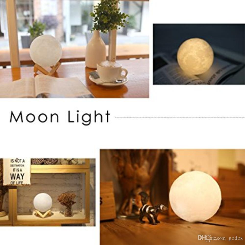 2018 Home Decoration Gift 15cm Moon Led Lamp 3d Print Moon Lamp ...