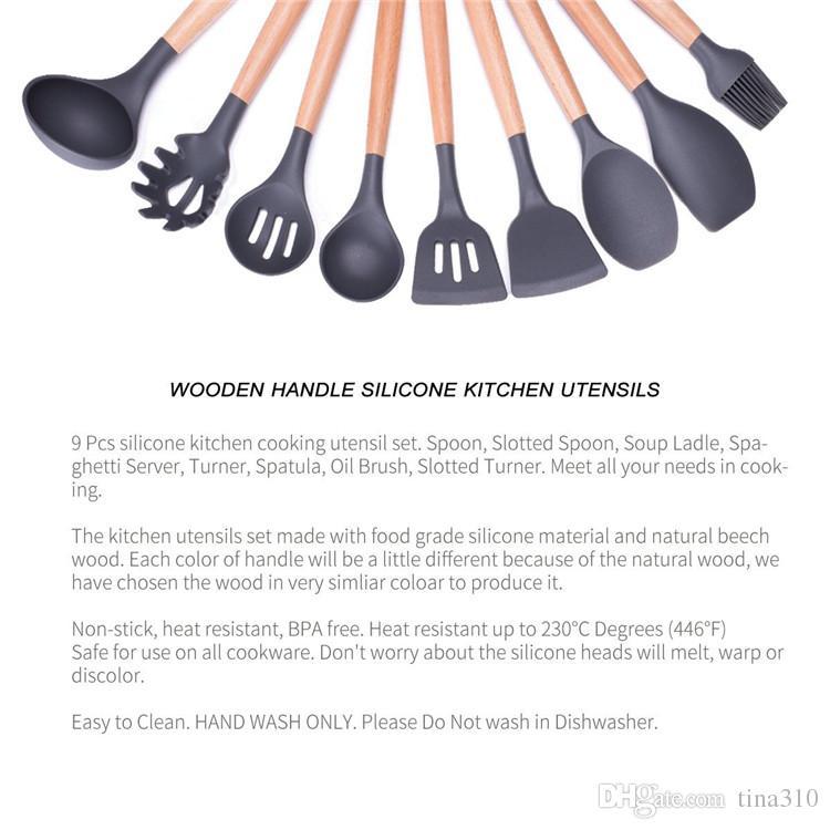 Poignée de bois Silicone Ustensiles de cuisine pour cuisine fendue Turner Spatule Cuillère à louche Spaghetti Outils de cuisson IB624