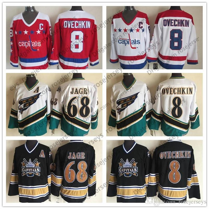 2019 CCM Washington Capitals Jerseys  8 ALEXANDER Ovechkin 68 Jaromir Jagr  2000 Vintage 2005 Retro Cheap Caps Hockey Navy Red Third White Alex From ... 757b317e5d0