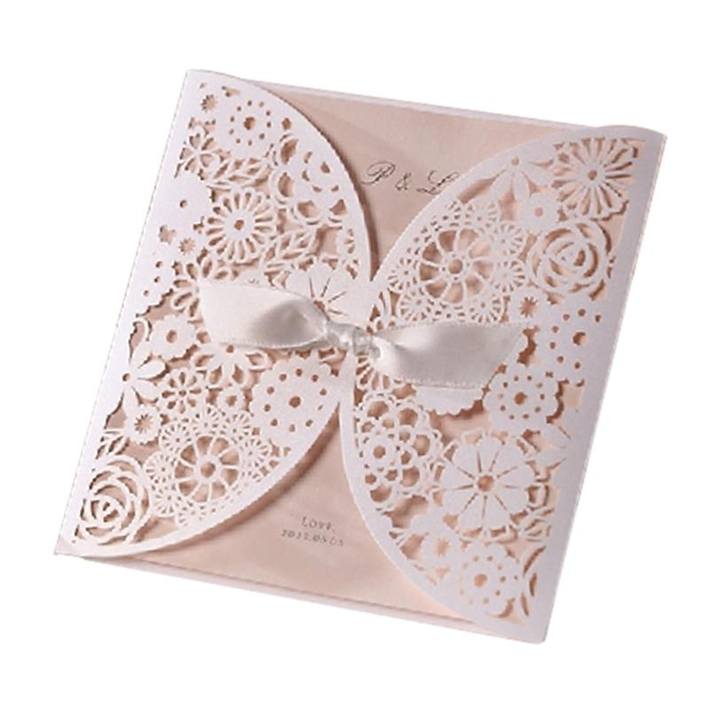 Design Elegant Flowers Lace Laser Cut White Invitations Cards For