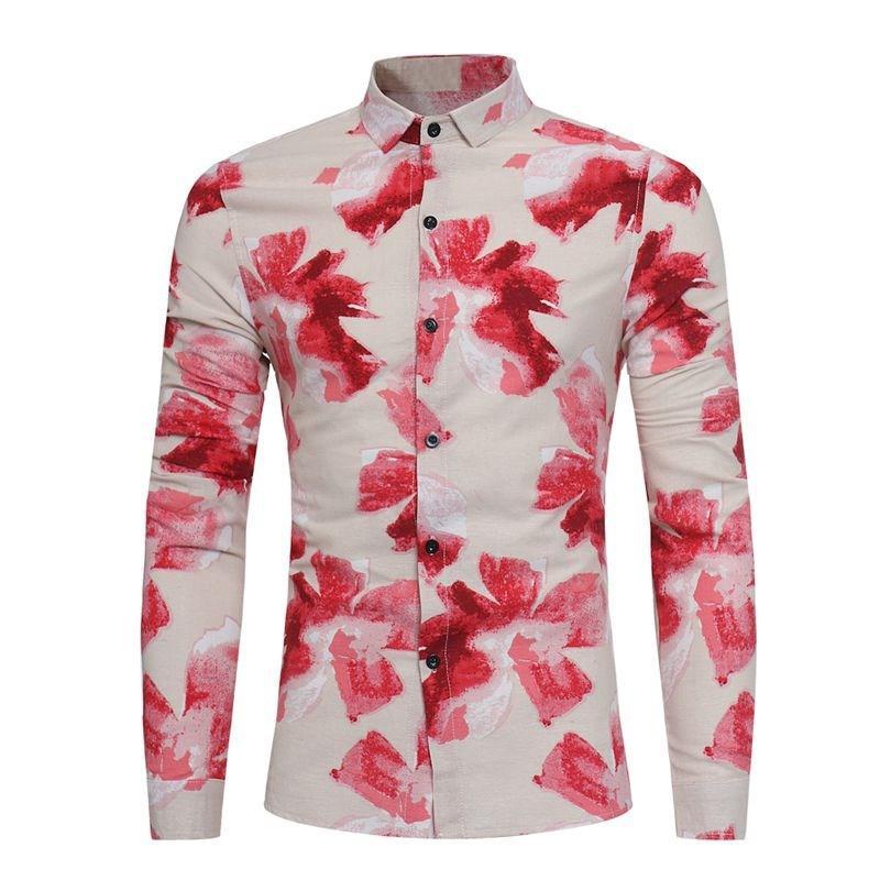 832eb9e7a722 Wholesale-2017 Autumn Spring Men Fashion Floral Long Sleeve Shirt Plus Size  Casual Slim Fit Multi Colors Mens Dress Shirt Male Clothes 3XL