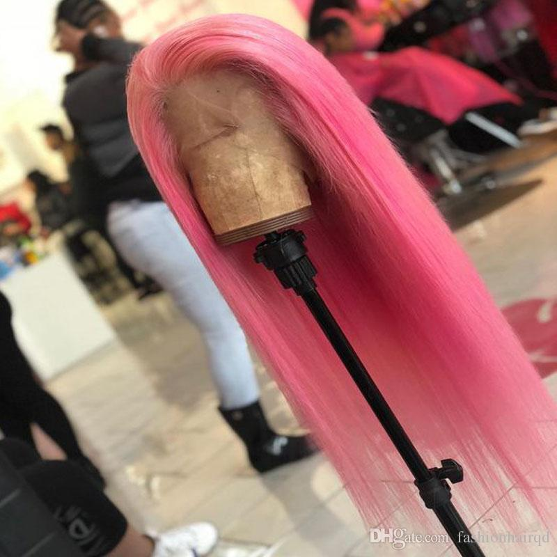 Pink Full Lace Human Hair Wigs For Black Women Straight Indian Virgin Hair Glueless Lace Front Wigs Pre Plucked 130% Density