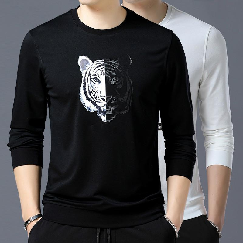 on wholesale cheaper promo code Men T Shirt Casual Luxury Brand Designer Shirts Long Sleeved Fashion Spring  Autumn Tshirt Mens Clothing White T-shirt M-3XL