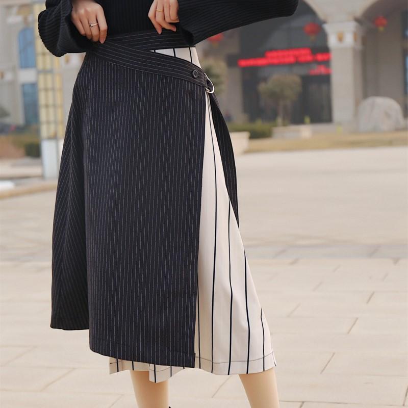 8e0c7049c 2019 BGTEEVER Fashion Irregular Striped A Line Mid Length Skirt Women Hit  Color Lace Up High Waisted Female Skirt Saia Feminina 2018 From Mangcao, ...