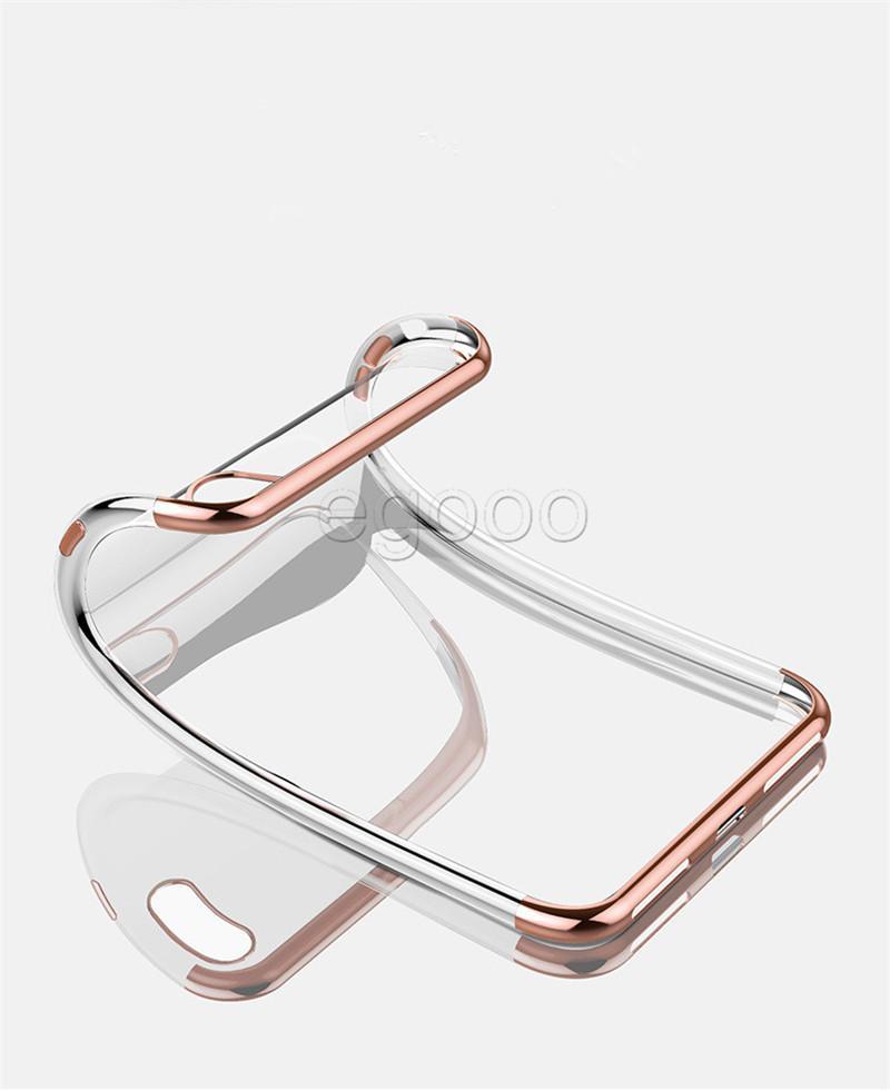 Ultrafino de Metal Galvanoplastia macia caso claro de TPU tampa transparente para iPhone 11 Pro Max Xs Xr 8 7 6S Além disso Samsung S8 S9 Plus Nota 10 9