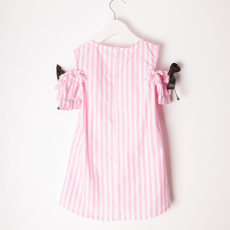 2016 Summer New Princess Girl Dress Kids Striped Bow Dress Children Clothing Off Shoulder dress Girls Vestido Infantis For 2-12T