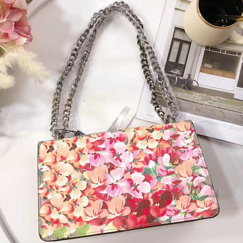 4103c7f4219e Chian Shoulder Crossbody Bags Handbags Women Famous Brands Flower Bloom  Print Suede Bag Luxury Designer Snake Head Messenger Purse Leather Goods  Branded ...