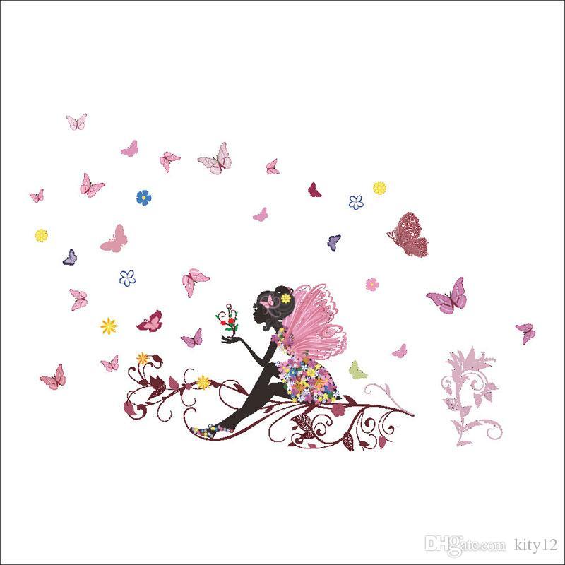 Hot sale New Flower Angel fairy Wall Sticker Home Decor Wallpaper for Kids Children girl Room Decoration