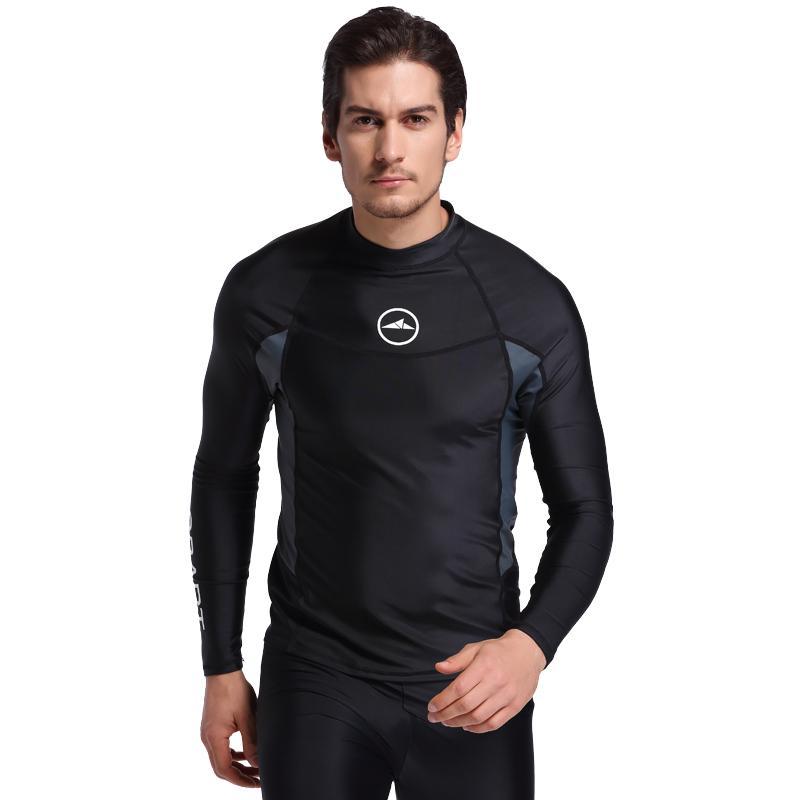bd81a69e99bb 2018 Hombres de manga larga Rash Guards Traje de baño Camisas Lycra Sun  Traje de neopreno de protección Tops Buceo Snorkel Natación Surf Rashguard  ...