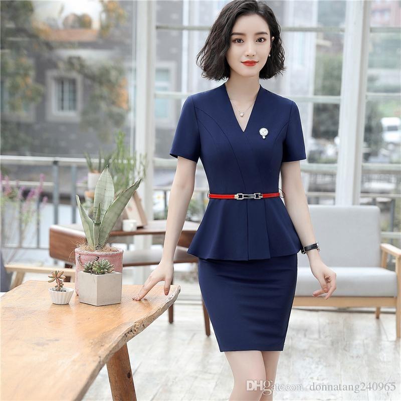 7ab8f7909e97 2019 Business Formal Women Carreer Skirt Suit Summer Fashion Elegant Short  Sleeve Blazer And Skirt Office Interview Lady Plus Size Work Wear From  Dujotree