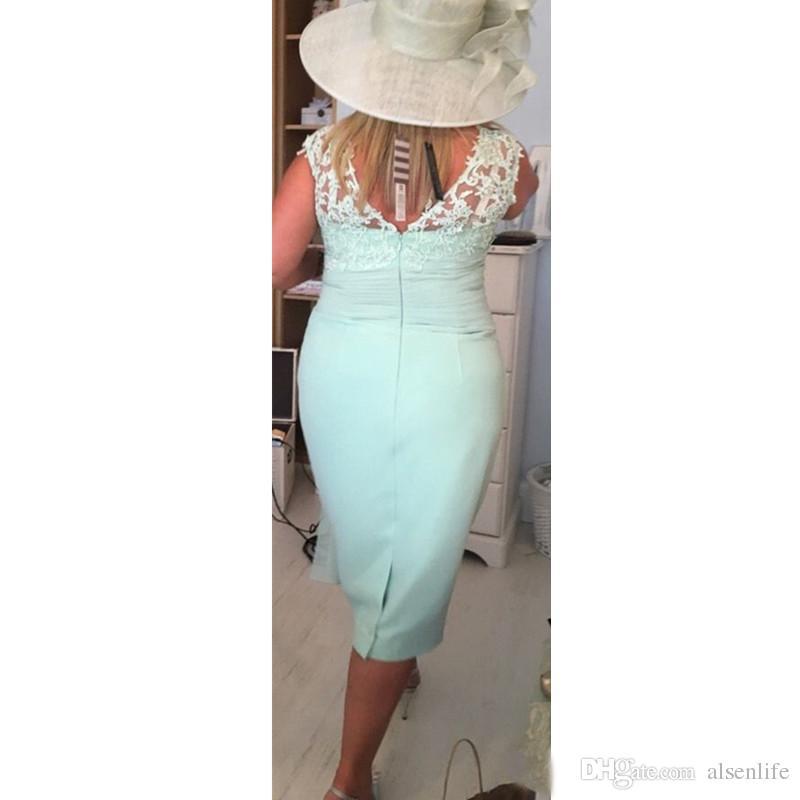 Nane Yeşil Anne Pantolon Takım Elbise Diz Boyu Iki Adet V Boyun anne Gelin Elbiseler Uzun Kollu Ucuz Şifon Özel Boyut Resmi Giyim