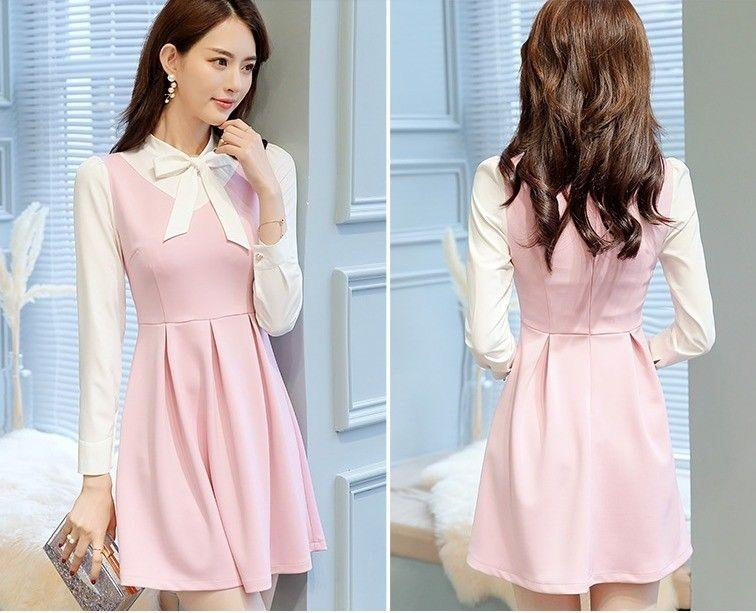 cb786c35872a Cute Korean Fashion Bowknot Decorated Long Sleeve Pleated Spring Casual  Dress Online with  12.95 Piece on Angelsdress s Store