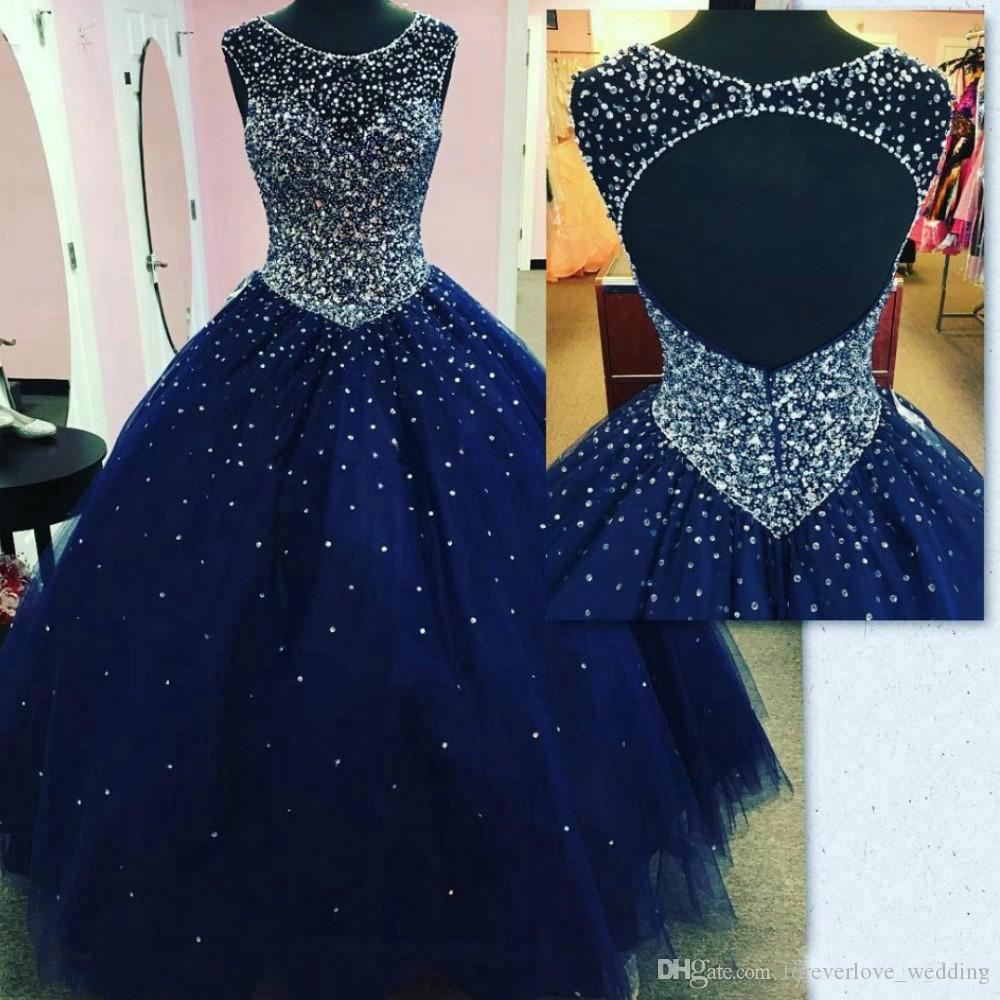 Navy Blue Quinceanera Dresses Cheap Puffy Skirt Prom Dresses Beaded Crystals Tulle Jewel Backless Sweet 16 Dress Party Ball Gowns