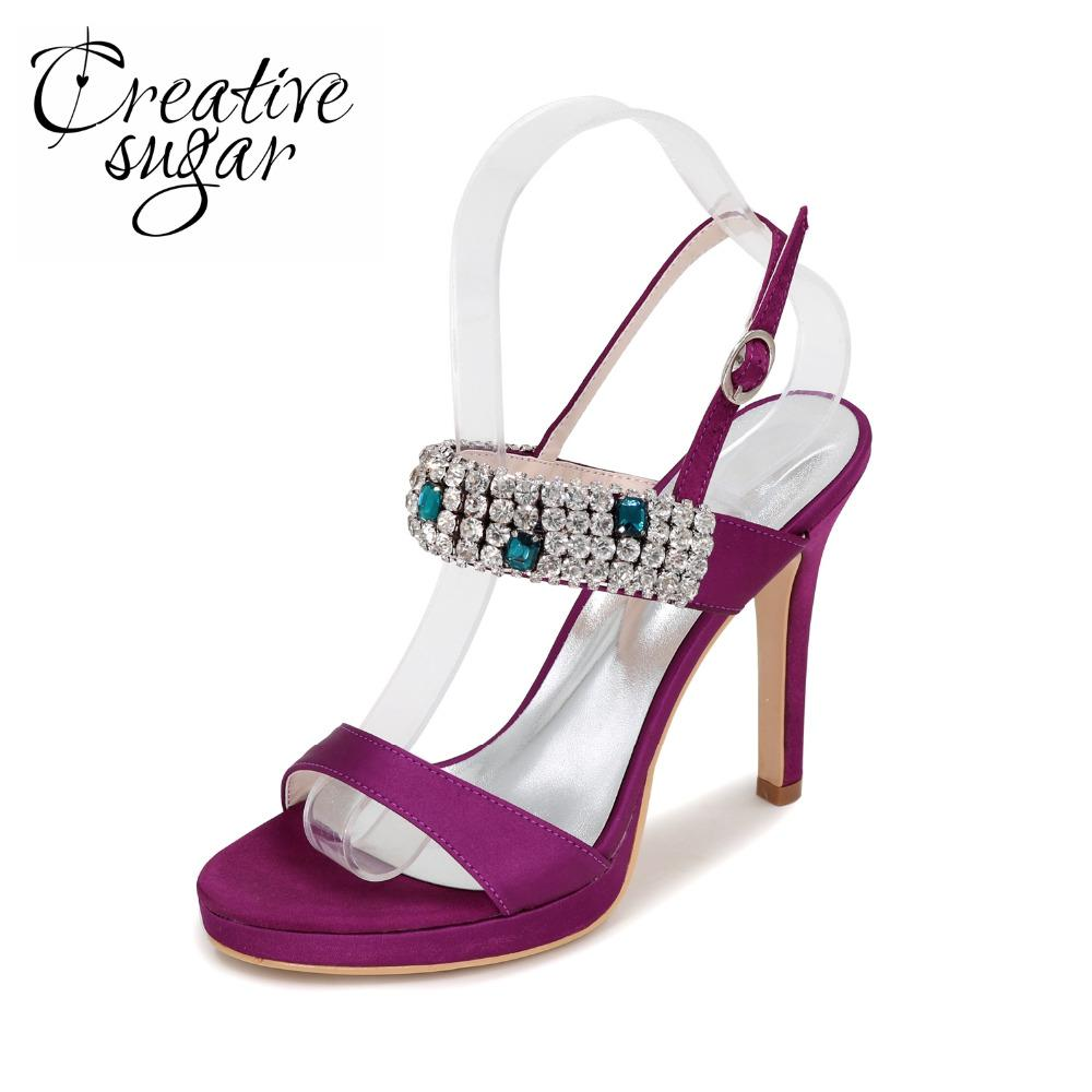 Creativesugar woman crystal sandals satin summer dress shoes colorful rhinestones high heels party prom purple silver grey ivory