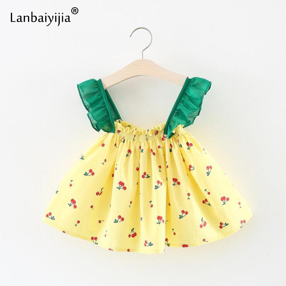 2018 Lanbaiyijia Cherry Print Baby Girls Dress Clothes Girl Summer