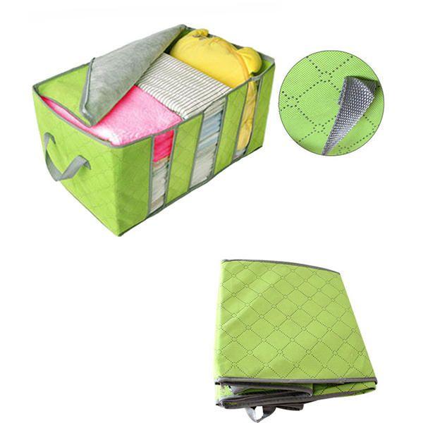 Wholesale 65L larger size foldable Wardrobe Storage Bag Clothes Blanket Pillow Quilt Closet Sweater Box Pouch Organize