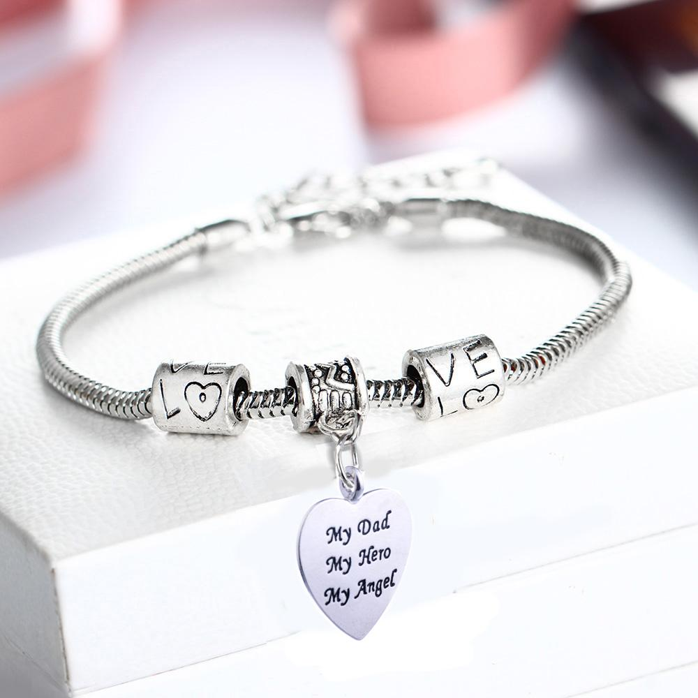 My Dad Hero Angel Heart Bracelet Family Men Fathers Birthday Gift Papa Daddy Vintage Bead Bangle Wristband Cheap Charms For Bracelets Charm