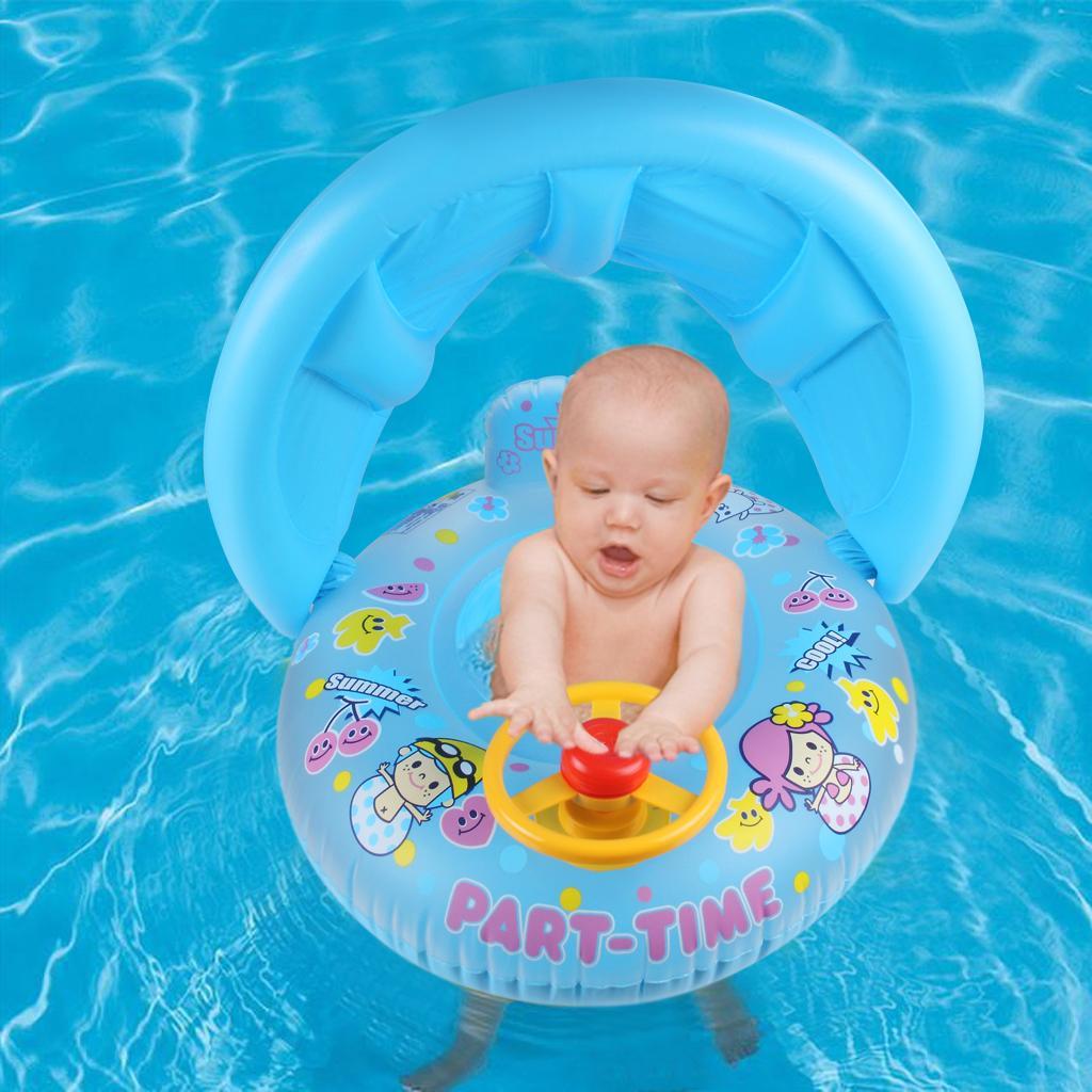Bote inflable para flotar del asiento de natación para bebés con sombrilla extraíble Agua para el verano Diviértete Herramienta Rosa y azul