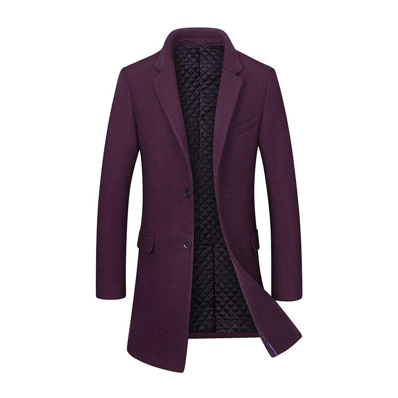 33d9ccdce 2018 Winter Men's Casual Wool Coat Fashion Business Long Thicken Slim  Woolen Overcoat Jacket Male Peacoat Brand Clothes