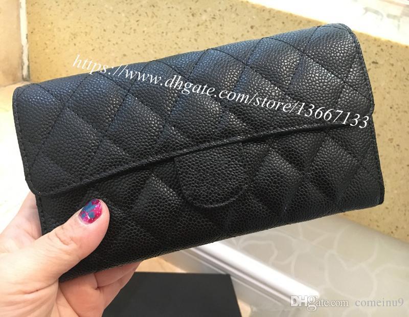 6513bbe2c Compre 2018 Novo Design Carteira De Embreagem Couro Genuíno Preto Caviar  Flap Titular Do Cartão Carteira Feminina Longo Bolsa Com Caixa De Comeinu9,  ...