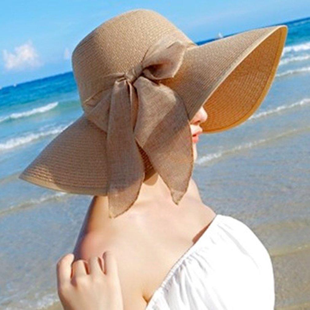 Compre Coreano Moda Feminina Verão Rodada Flat Top Chapéu De Praia De Palha  Encantador Senhoras Bowknot Design Praia Chapéu De Sol Cap De Stirringoa 66abe81f99d