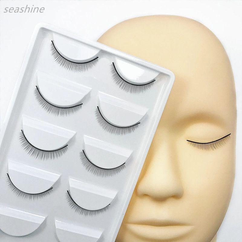 Professional Training Mannequin Cabeça Chata + 5 pares Prática Cílio Formação Lash Graft Cílios Extensão maquiagem beleza Ferramentas frete grátis