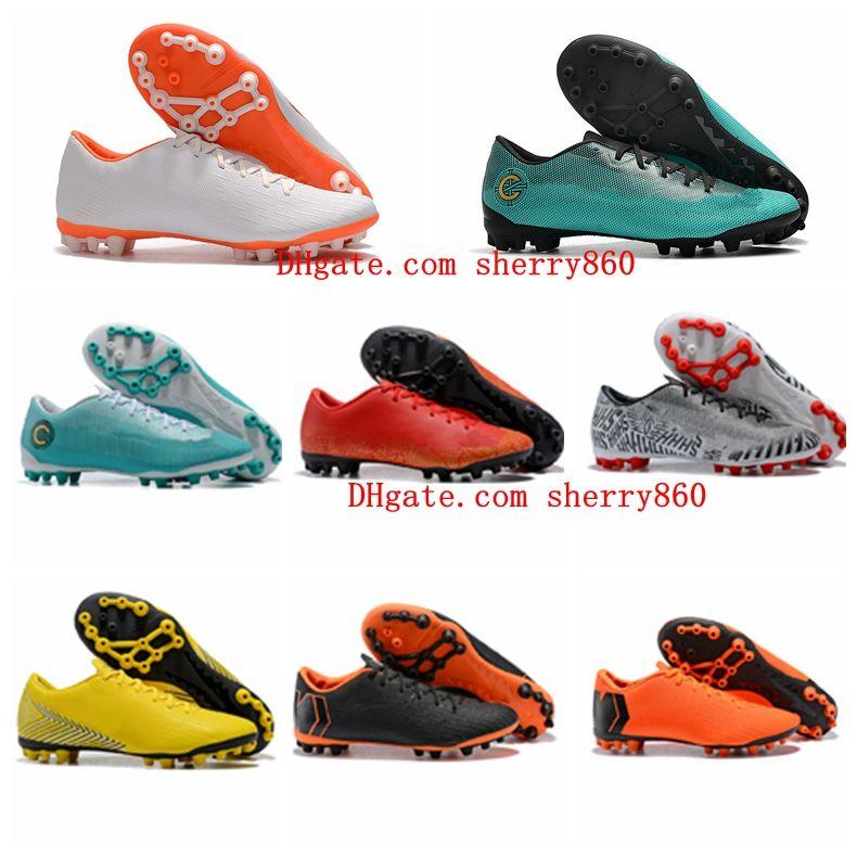8b385c180 2019 2018 Low Mens Soccer Shoes Boys Football Boots Vapor 12 Academy CR7 AG  R Soccer Cleats Ronaldo Neymar Mercurial Superfly VI 360 Elite Women From  ...