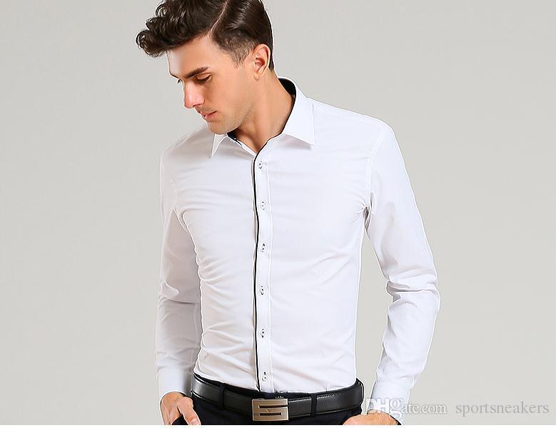 Erkekler İş Gömlek Uzun Kollu Erkek Slim Fit Gömlekler Pamuk siyah yaka Gömlek Artı Boyutu