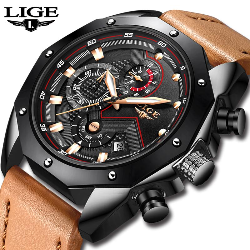 b2978d96386 Compre Relogio LIGE Design Marca De Moda Relógios De Couro Dos Homens Do  Esporte Data Cronógrafo Relógio De Quartzo Masculino Presentes Relógio  Relogio ...
